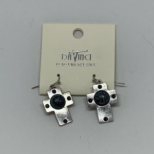 Jewelry - NWT Cross earrings with turquoise